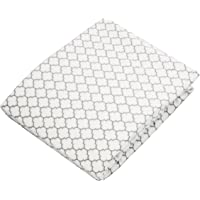 Kushies Pack N Play Playard Sheet, Soft 100% breathable cotton flannel, Made in Canada, White/Grey Ornament