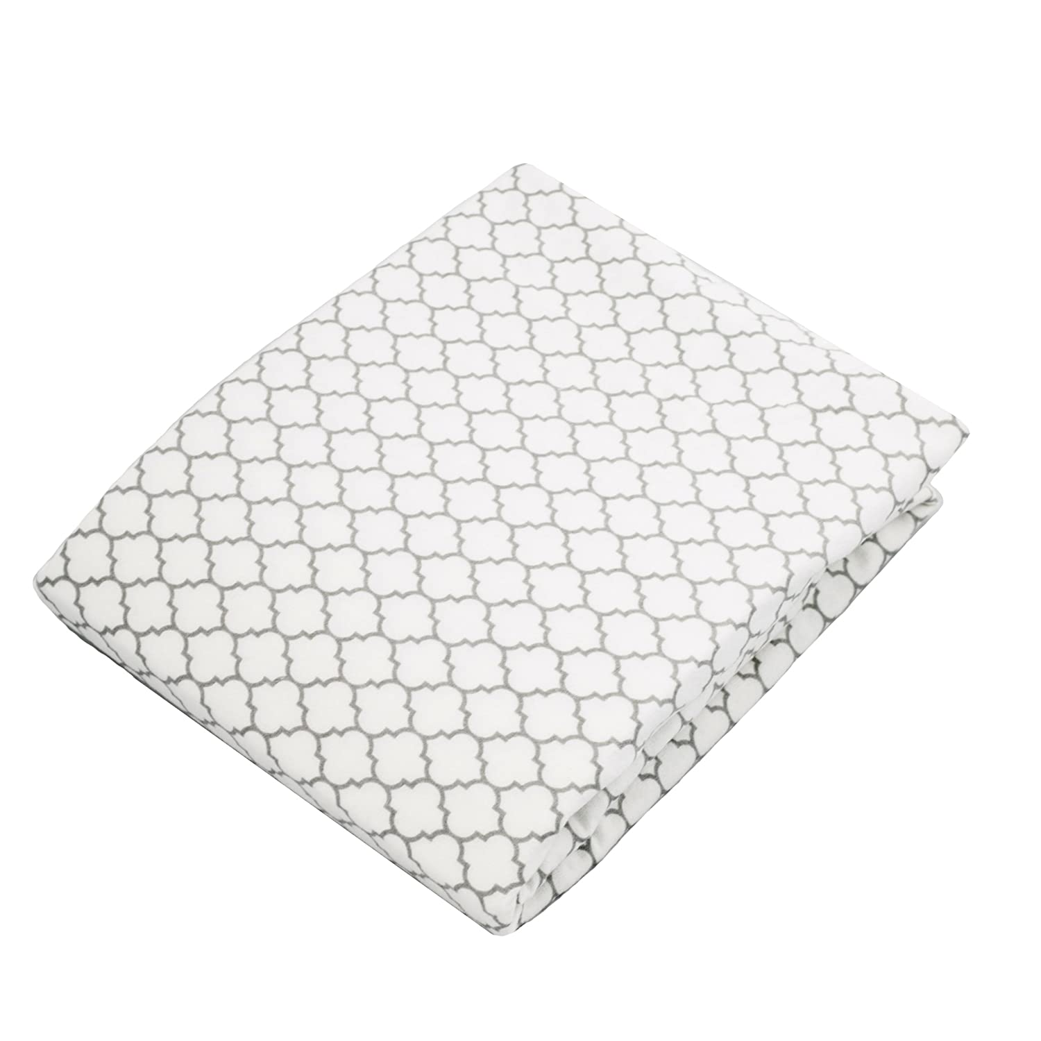 Kushies Changing Pad Cover With Safety Straps, Soft 100% Breathable Cotton Flannel, Made in Canada, White/Grey Ornament Kushies Baby S347-537