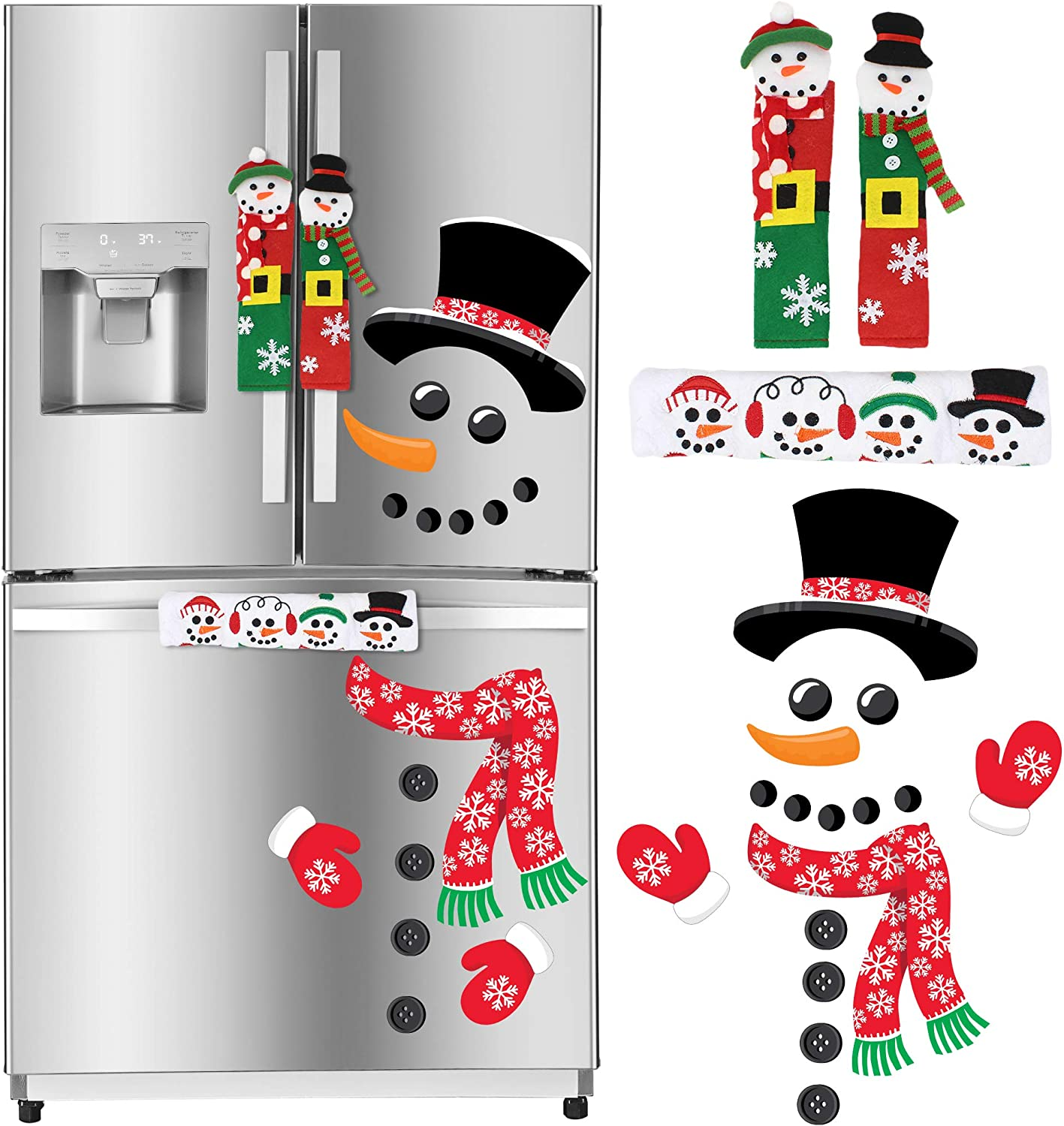 Christmas Kitchen Decorations, Snowman Handle Covers, Refrigerator Magnets for Christmas Indoor Décor, Party Favor Supplies