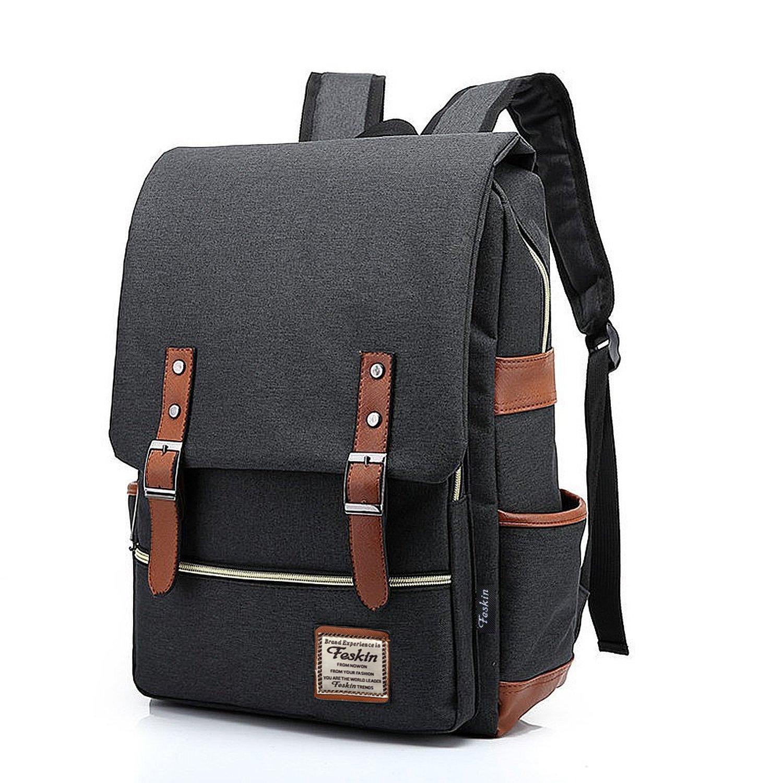 Unisex Professional Slim Business Laptop Backpack, Feskin Fashion Casual Durable Travel Rucksack Daypack Waterproof Dustproof with Tear Resistant Design for Macbook, Tablet – Dark Grey