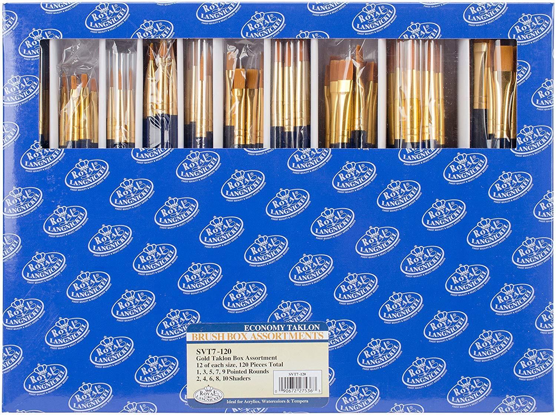 Royal & Langnickel SVT7-120 Classroom Assortment Rounds and Flats Golden Taklon Brush, 120-Piece (1 Unit)