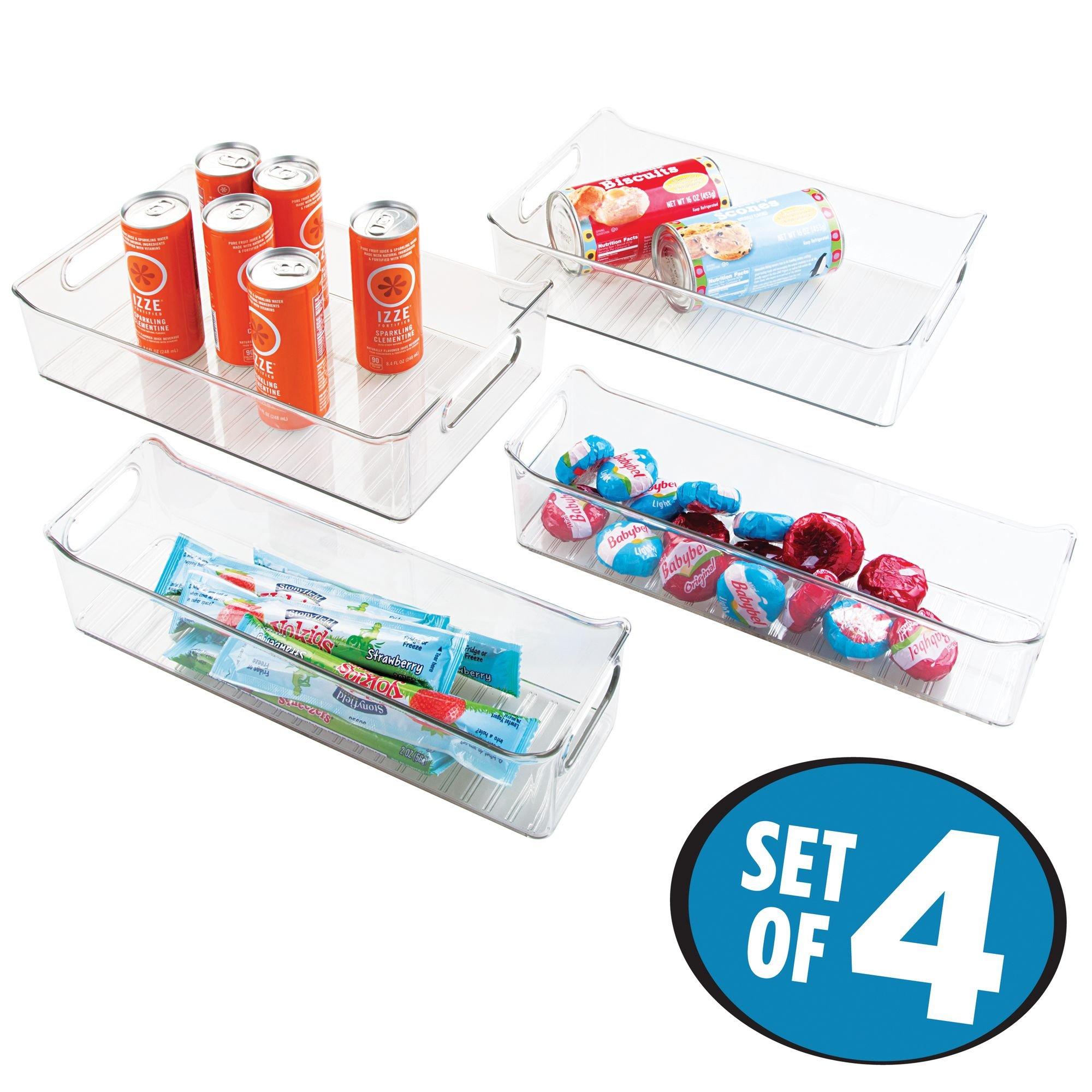 mDesign Kitchen, Pantry, Refrigerator, Freezer Storage Organizer Bins - Set of 4, Clear by mDesign