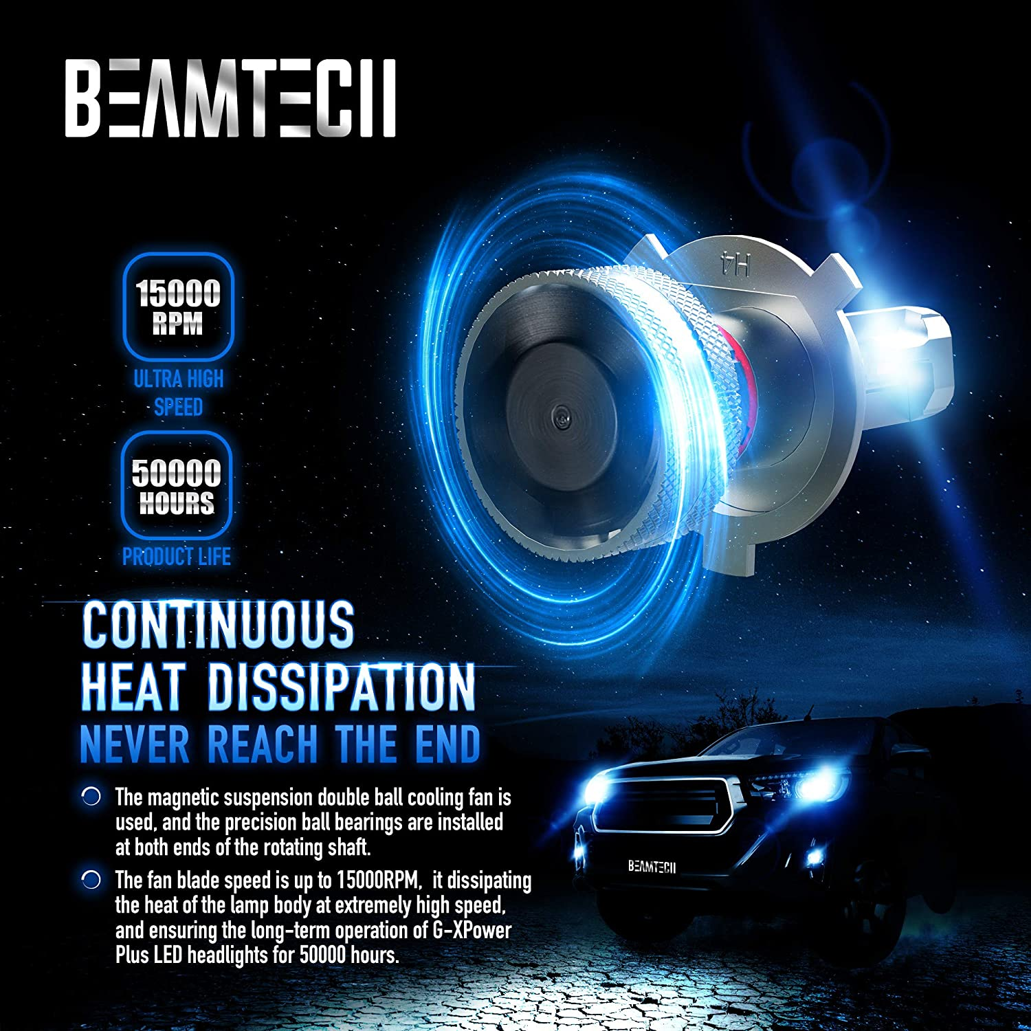 9003 G-XP Chips 110W 14000LM 6500K High Power Xenon White/ Conversion Kits of 2 BEAMTECH H4 LED Headlight Bulb