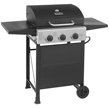 MASTER COOK Classic Liquid Propane Gas Grill, 3 Bunner with Folding Table, Black
