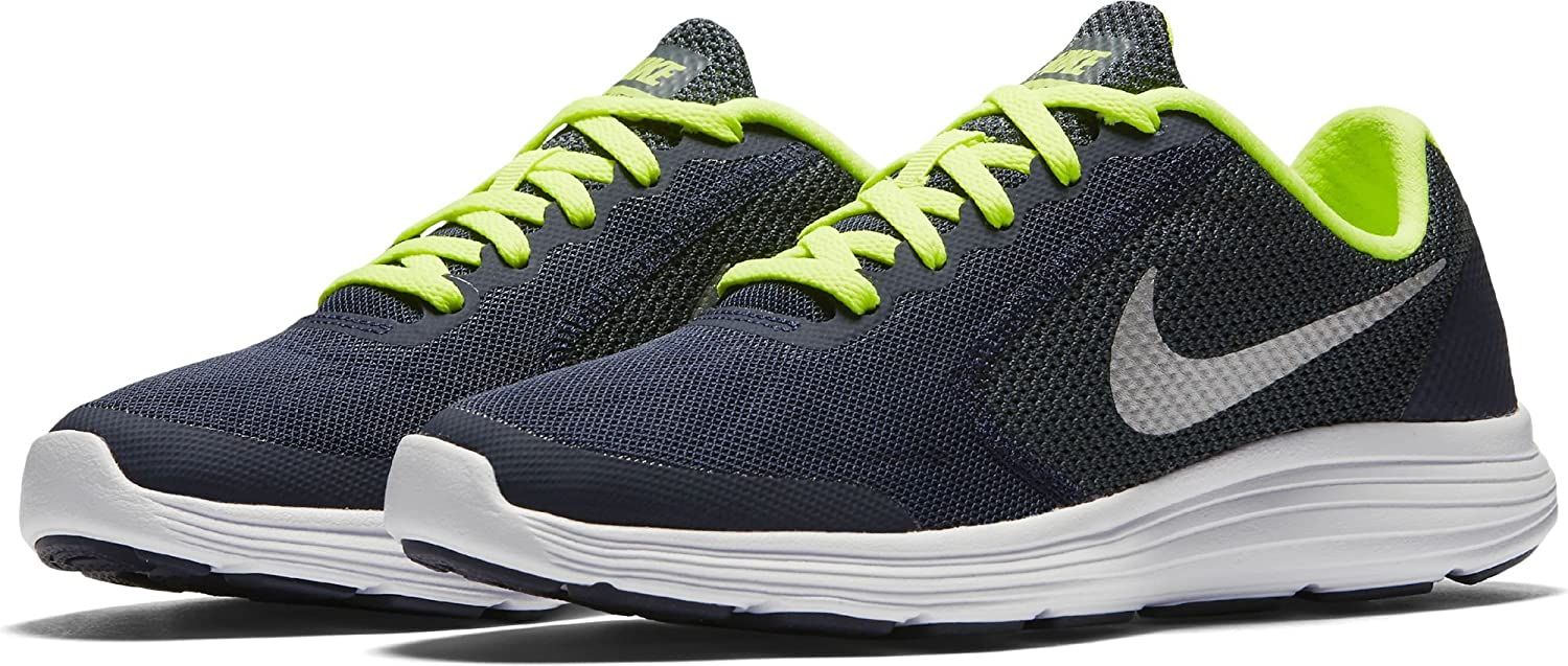 NIKE ' Revolution 3 (GS) Running Shoes B01CUMD1BK 6.5 M US Big Kid|Obsidian/Metallic Platinum/Hasta/Volt