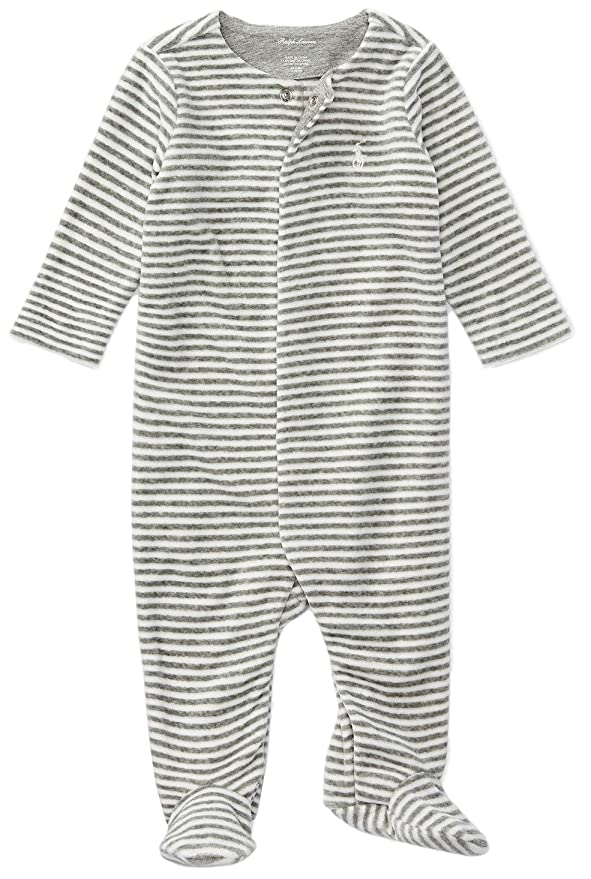07d7383e9532 Amazon.com  Ralph Lauren Baby Boys Striped Velour Footed Coverall ...