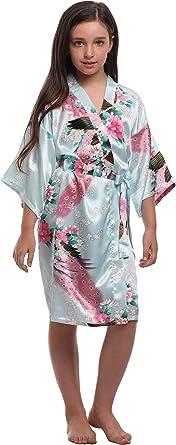Flower Girl Wedding Morning silky robe-weddings-Brides-Bridesmaids-Flowergirls Kimono Flowergirls Dressing gown