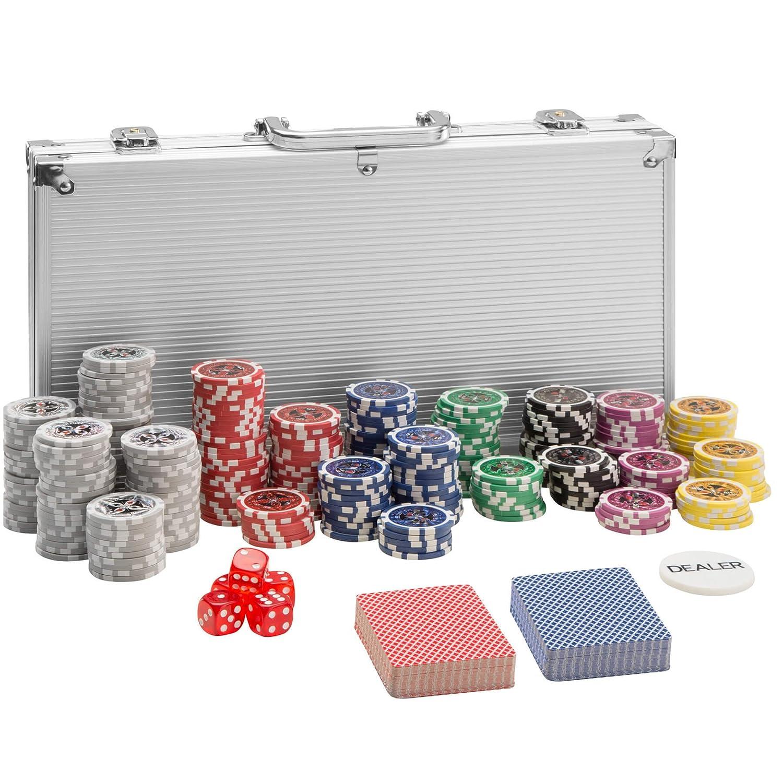 TecTake Pokerkoffer Pokerset mit Pokerchips Laser Chips im Alu Koffer | inkl. 2 Kartendecks + 5 Wü rfel + 1 Dealer Button | diverse Modelle (1.000 Teile | Silber | Nr. 402561) 800446