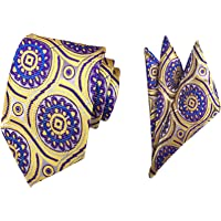 MENDENG Men's Paisley Silk Ties Wedding Suit Tie Hanky Sets