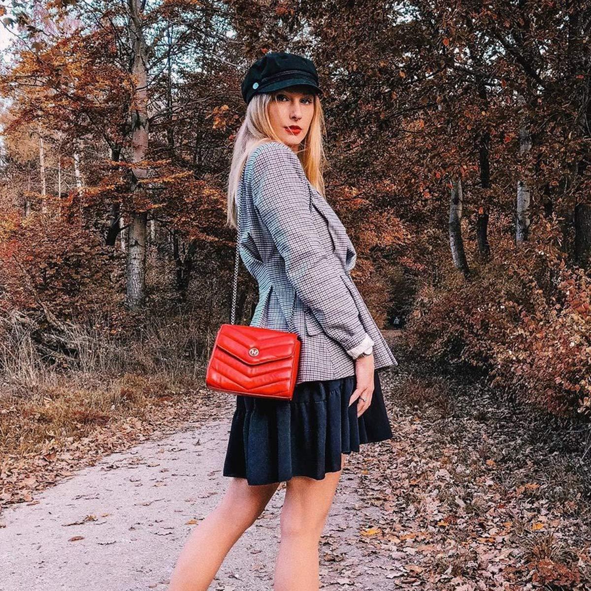 VICTORIA HYDE svart röd kvinnor damer äkta läder över axeln väskor crossbody väskor vattentät trapetsoid Röd