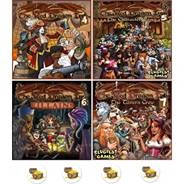 Bundle of Red Dragon Inn 4 to 7 and Four Treasure Pin Back Buttons