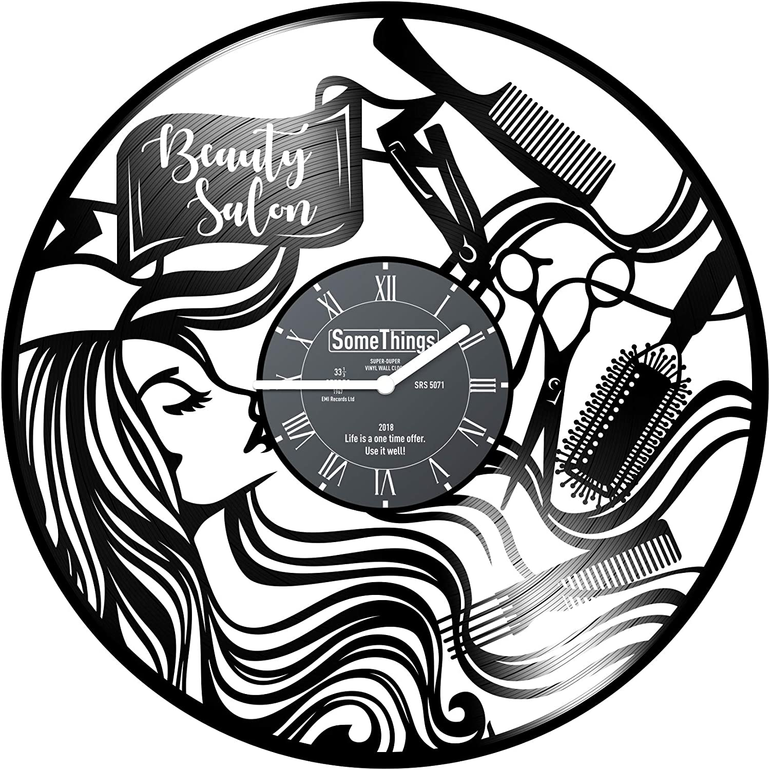 Hairdresser Vinyl Record Wall Clock - Beauty Studio Salon Hair Stylist  Gifts Idea for Woman or Man - Hairdressing Design Professional Equipment  Wall