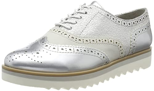 64065, Scarpe Stringate Oxford Donna, Argento (Silver), 37 EU Refresh