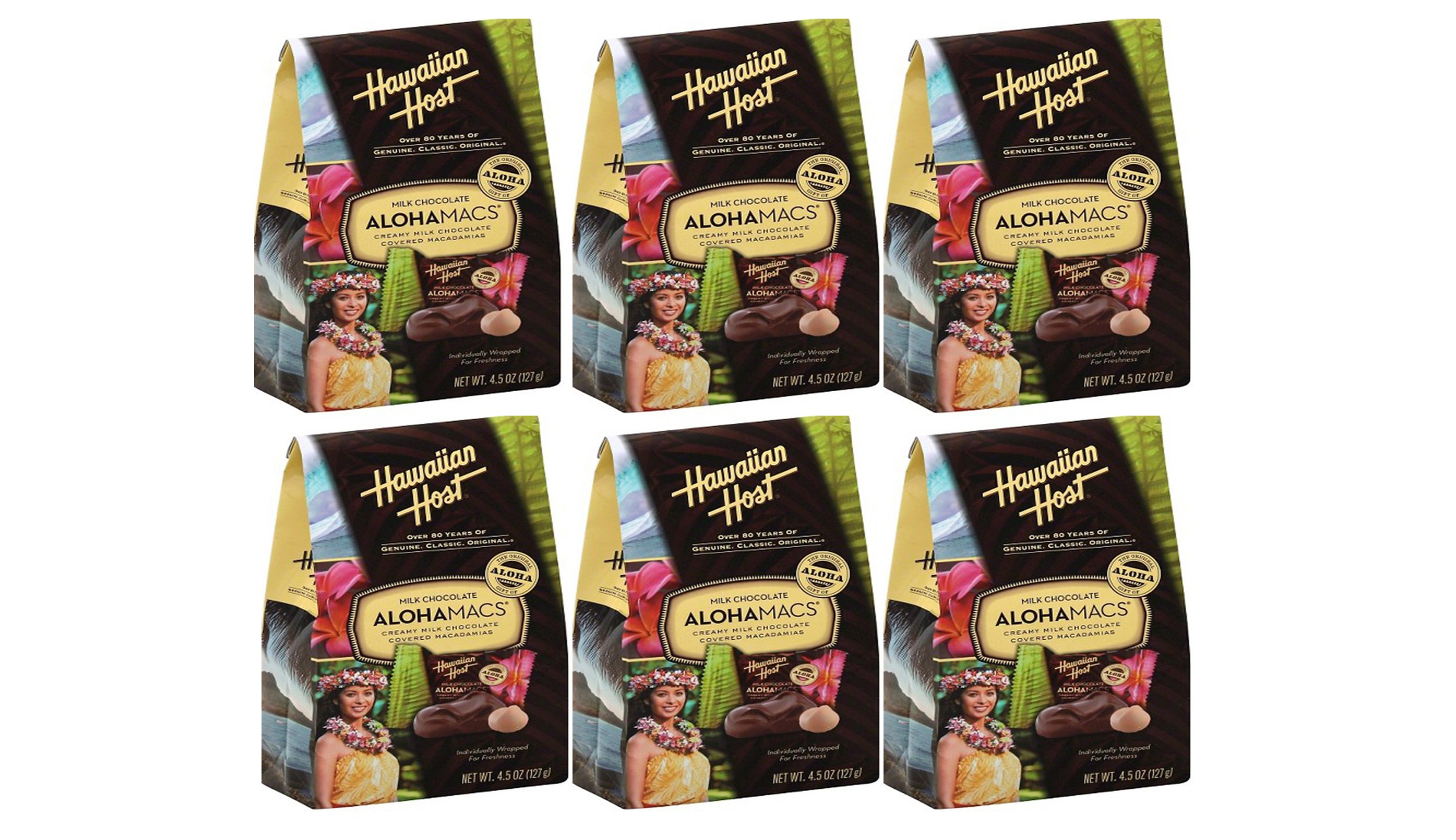 Hawaiian Host Alohamacs Premium Milk Chocolate Covered Macadamia Nuts Boutique Bag  (Pack Of 6)