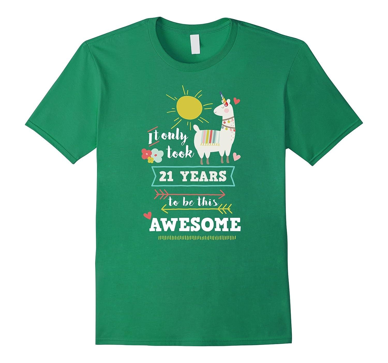 Llamacorn Cute 21st Birthday T Shirt For Girls RT