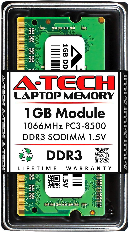 A-Tech 1GB DDR3 1066MHz PC3-8500 Laptop RAM SODIMM Module   1.5V Non-ECC Unbuffered 204-pin Memory Upgrade Stick