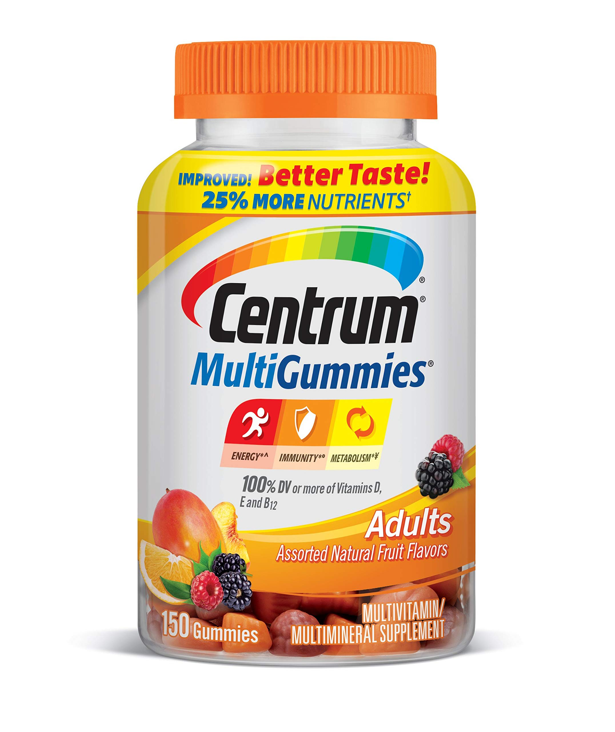 Centrum MultiGummies Gummy Multivitamin for Adults, with Vitamins D, B and E, Assorted Flavor, Fruit, 150 Count