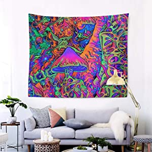 "RegiDreae Trippy Tapestry Psychedelic Tapestry Smoke Mushrooms Hippie Tapestry Wall Hanging for Living Room Bedroom Home Decor(60""x51"")"