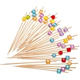 PuTwo Cocktail Picks Toothpicks Handmade Multicolor Appetizer Bamaboo Sticks - 100 Counts