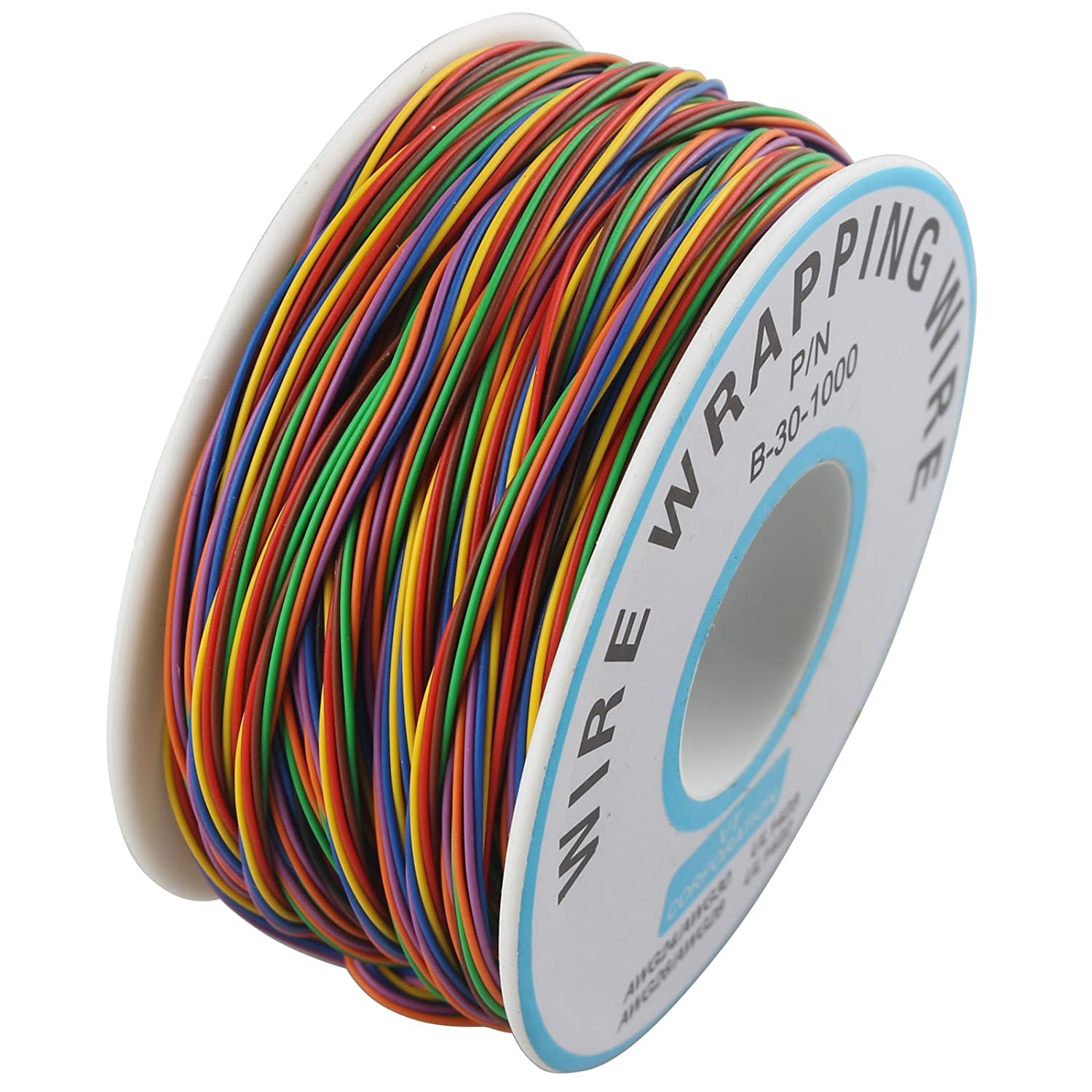 P/N B-30-1000 PCB Jumper Wire 8 Colors Insulation Test Wrapping Cable 15m HALJIA