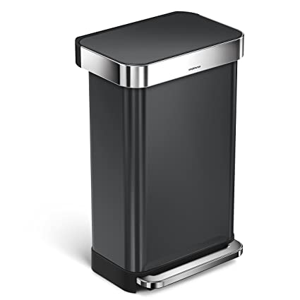 . simplehuman 45 Liter   12 Gallon Rectangular Step Trash Can  Black  Stainless Steel with 60 pack custom fit liner code M