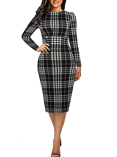 b677dd5339 oxiuly Women s Casual Simple Long Sleeve Round Neck Work Business Bodycon  Knee-Length Pencil Dress