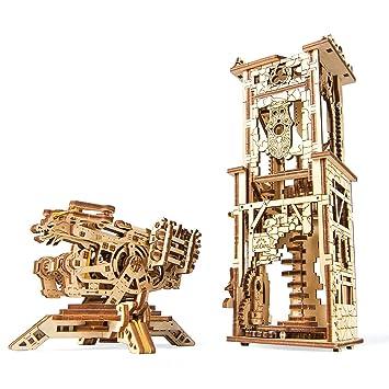 UGEARS 70048 Balista y Torre Militar Modelo Históricos 292 Piezas Modelo con múltiples Funciones – wiederbelebe legendaria Medieval de Artillería ...