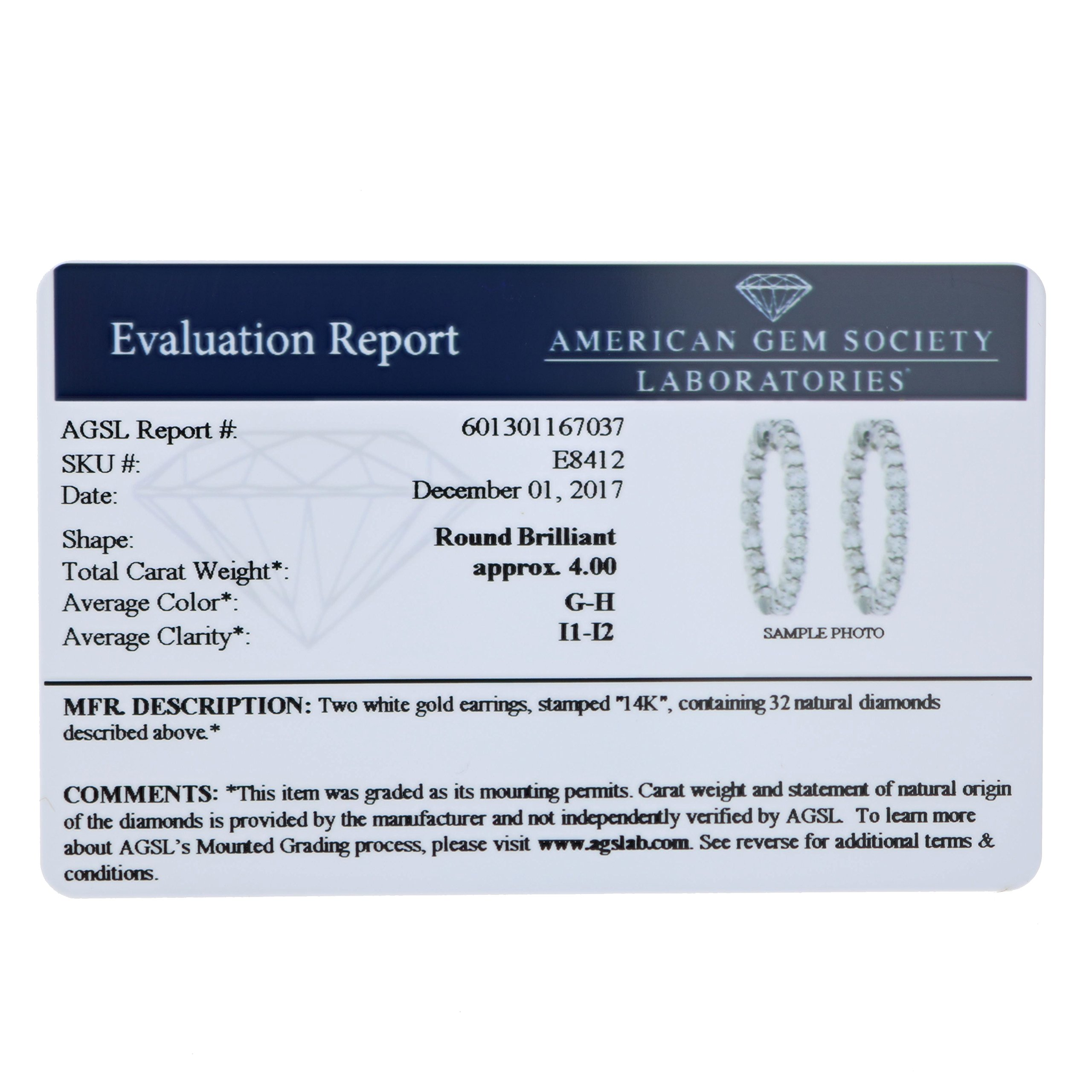 4 cttw SI2-I1 Certified 14K White Gold Diamond Inside Out Hoop Earrings (J-K) by Vir Jewels (Image #2)