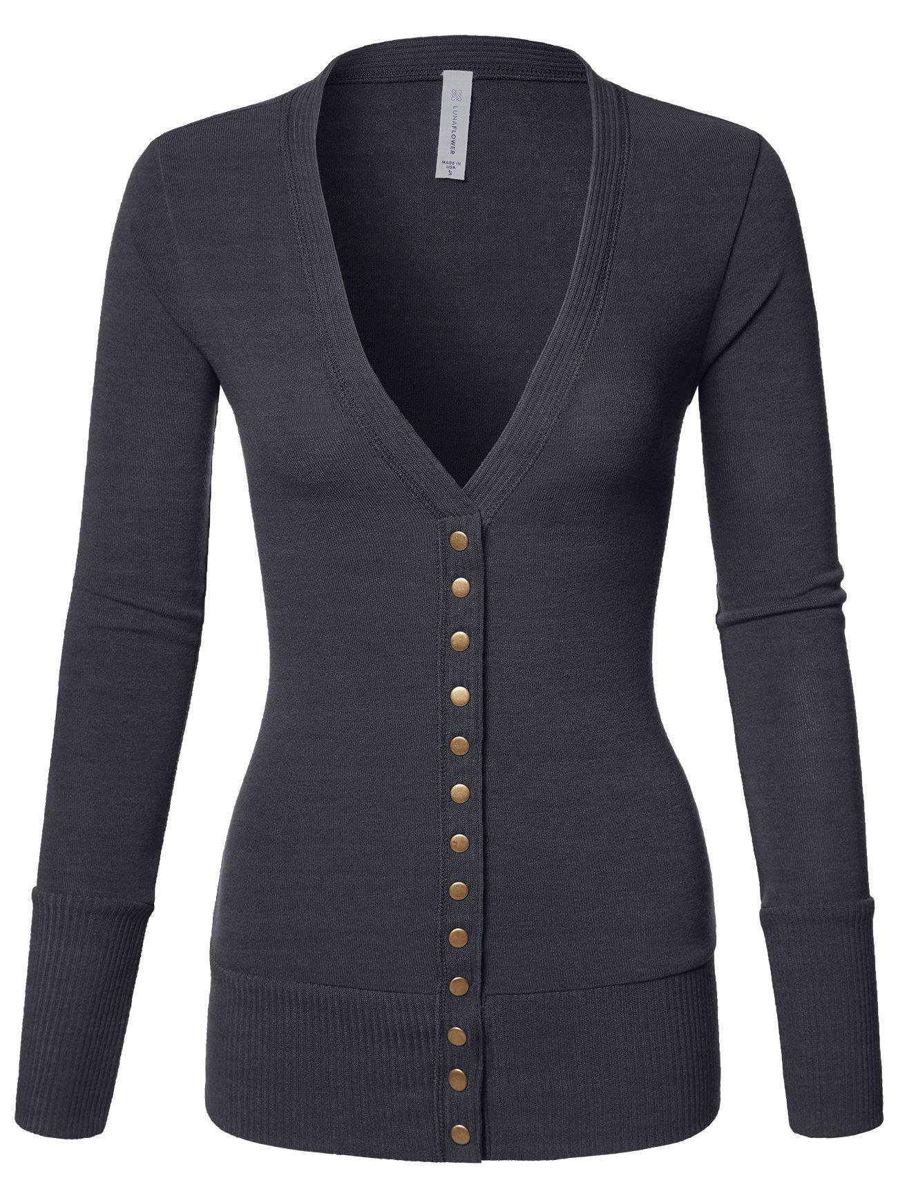 Luna Flower Women's V-Neck Snap Button Long Sleeve Soft Basic Knit Snap Cardigan Sweater Charcoal Large (GCDW027)