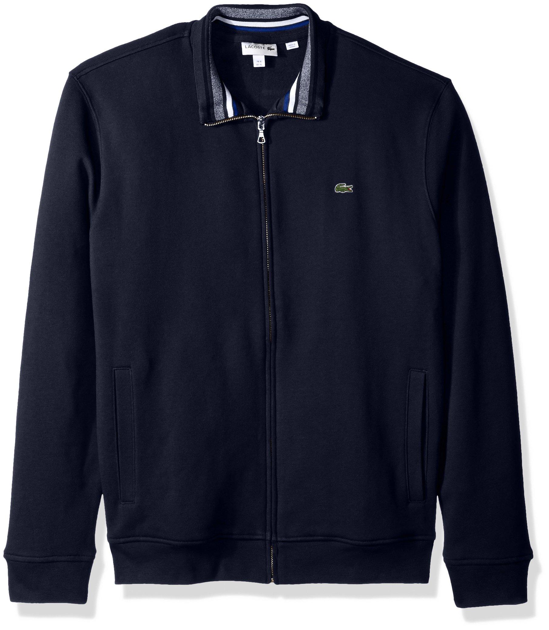 Lacoste Men's Semi Fancy Brushed Pique Fleece Full Zip Sweatshirt, Navy Blue/Multi, 7