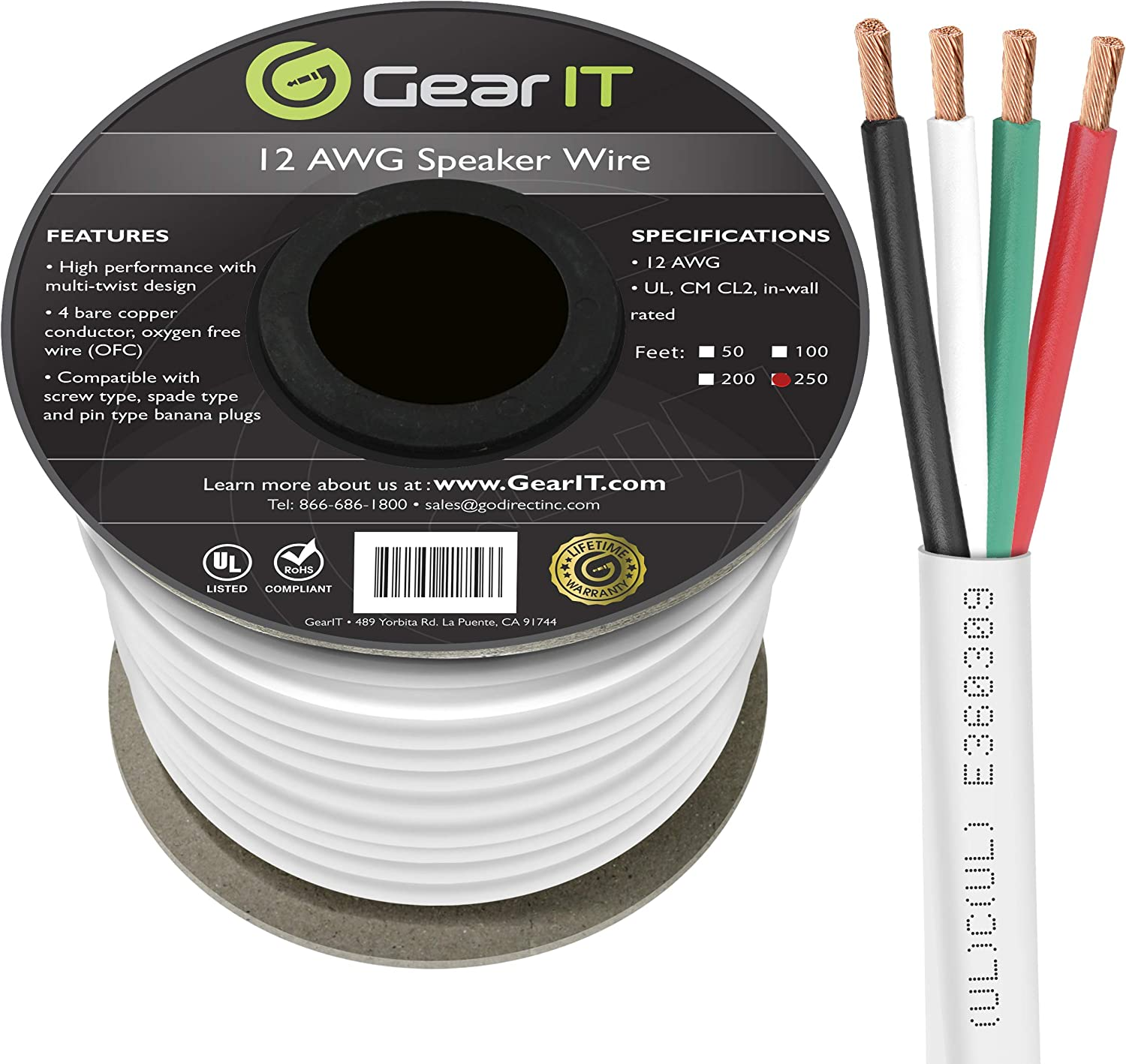 100 Feet // 30.48 Meters GearIT Pro Series 12 Gauge 4-Conductor CL2 Rated 12 AWG OFC Speaker Wire Rated for in-Wall Speaker Cable White
