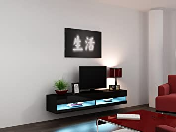Tremendous High Gloss Living Room Set With Led Lights Tv Stand Wall Mounted Cabinet Modern Display Units Floating Design Black 1 Tv Unit Beutiful Home Inspiration Xortanetmahrainfo