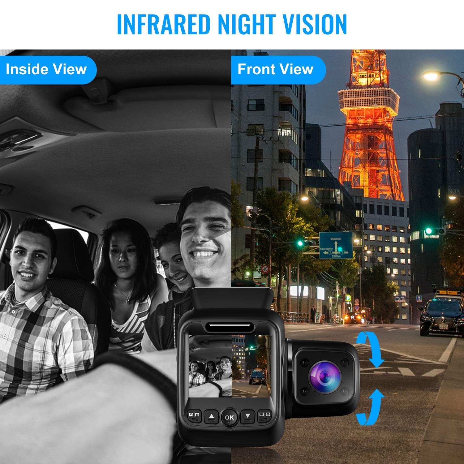 Upgraded Pruveeo P3 Dash Cam with Infrared Night Vision, Built-in GPS, WiFi, Dual 1080P Front and Inside, Dash Camera for Cars Uber Lyft Truck Taxi by Pruveeo (Image #3)