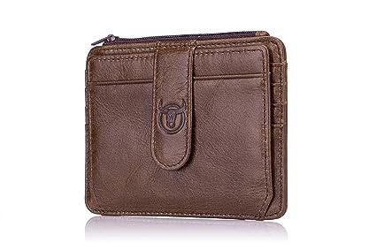 Cartera Hombre Pequeña Tarjetero Hombre , WeeDee Billetera Tarjetas de Crédito Slim RFID Bloqueo Mini Monedero de Piel Cuero Minimalista (00 marrón)