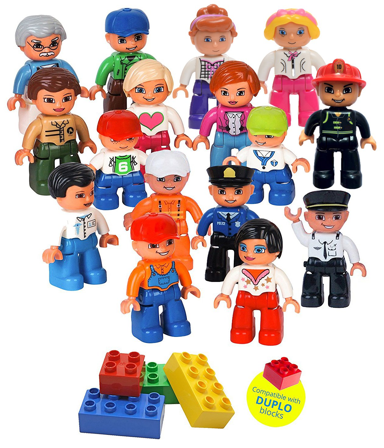 Community Figures Set Lego Duplo Compatible 16 Pieces By Lp Toys- Includes Police Man, Pilot, Farmer, Construction Worker, Conductor, Nurse, Acrobat Girl, Female Zoo Keeper, Mom, Dad, Grand Pa, Kids and More Review