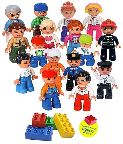 Amazon.com: Community Figures Set Lego Duplo Compatible 16 Pieces By ...