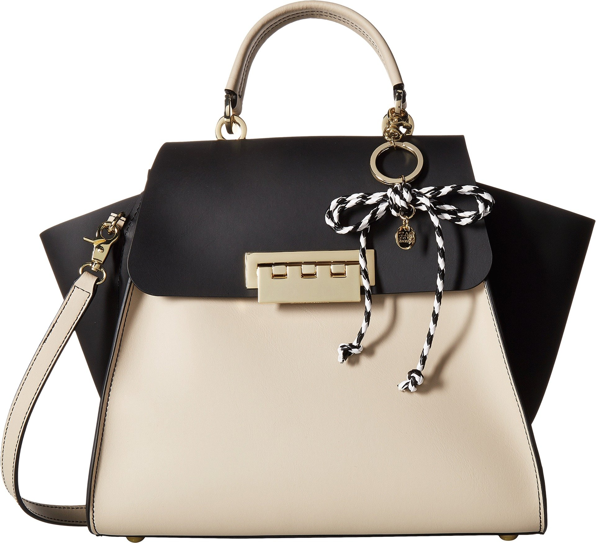 ZAC Zac Posen Women's Eartha Iconic Top-Handle Color Block with Rope Charm Black One Size