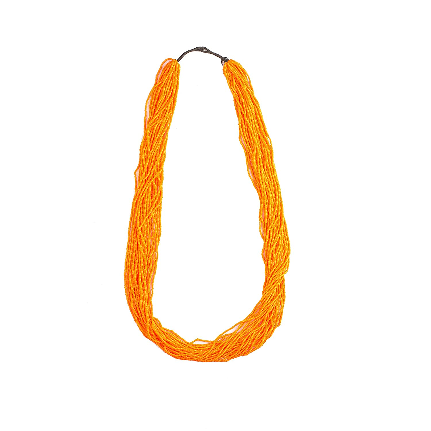 Orange Long Strand Necklace in Traditional Nepal Style Handmade in Nepal Beaded Seed Beads Necklace,N2