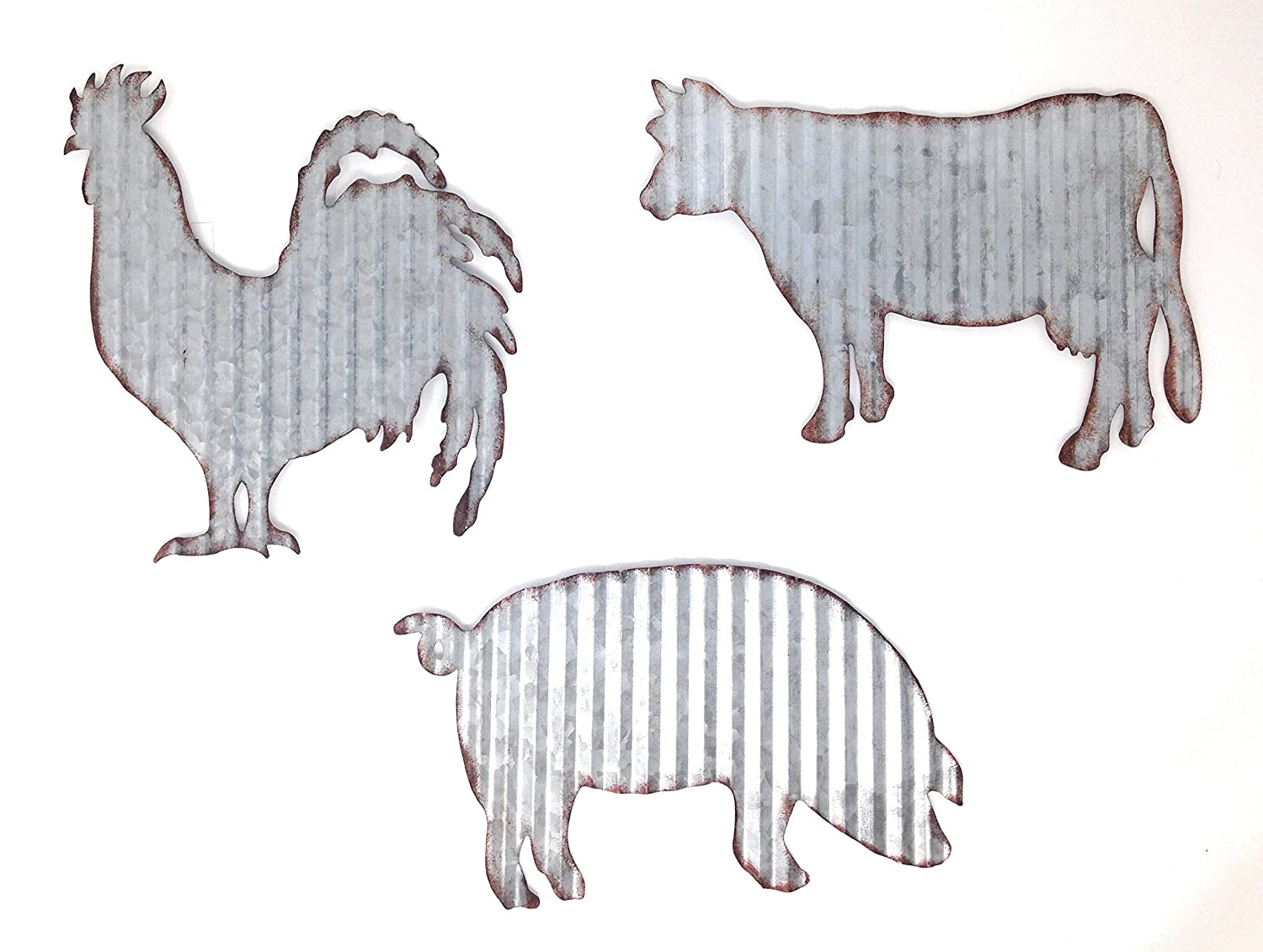 HL Cow Pig Rooster Galvanized Metal Farmhouse Wall Art Set