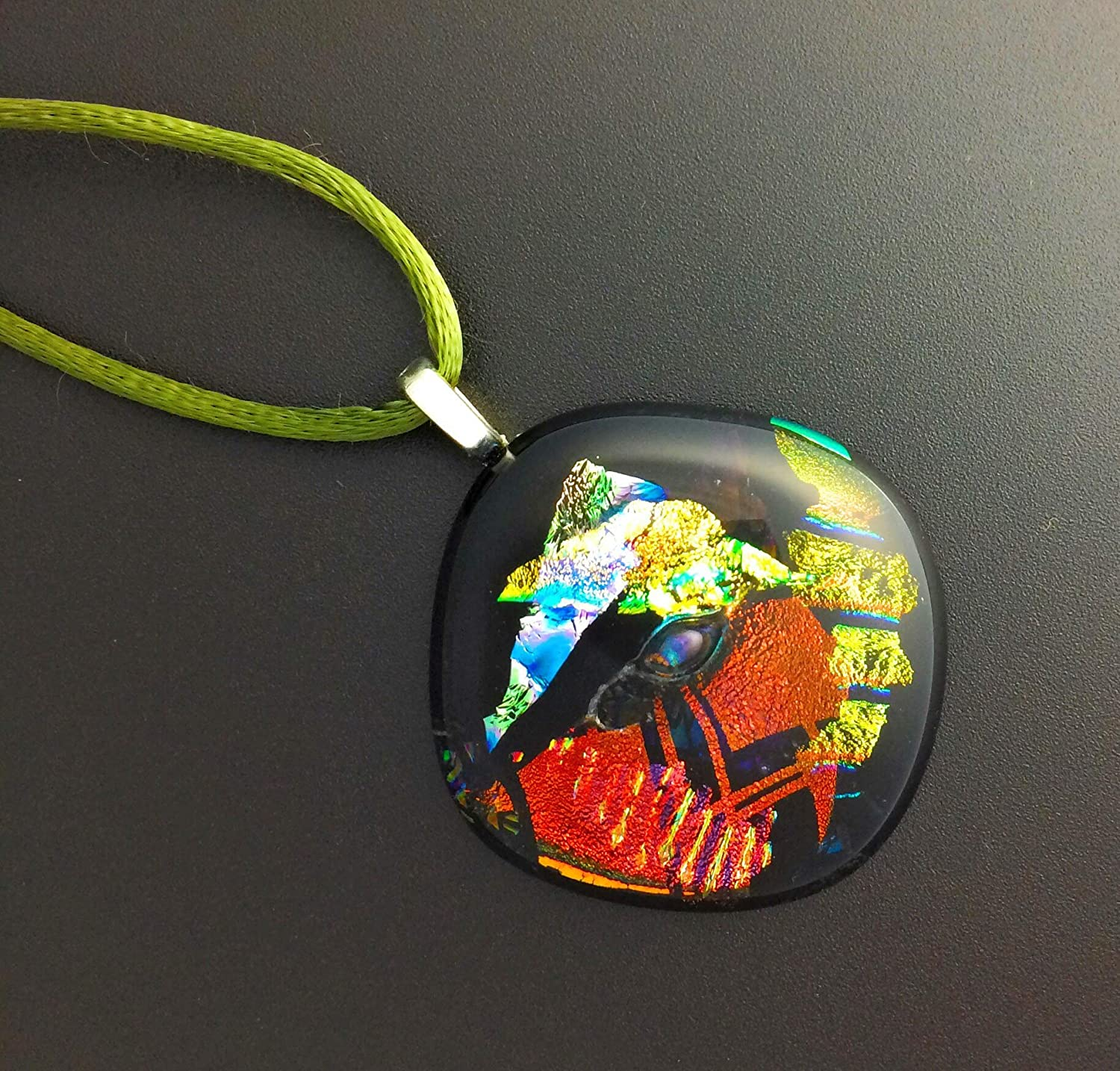 A6 Gold Pendant Red LARGE Zentangle Green Blue Fused Glass Jewelry Dichroic Glass Pendant Hand Engraved Necklace Included