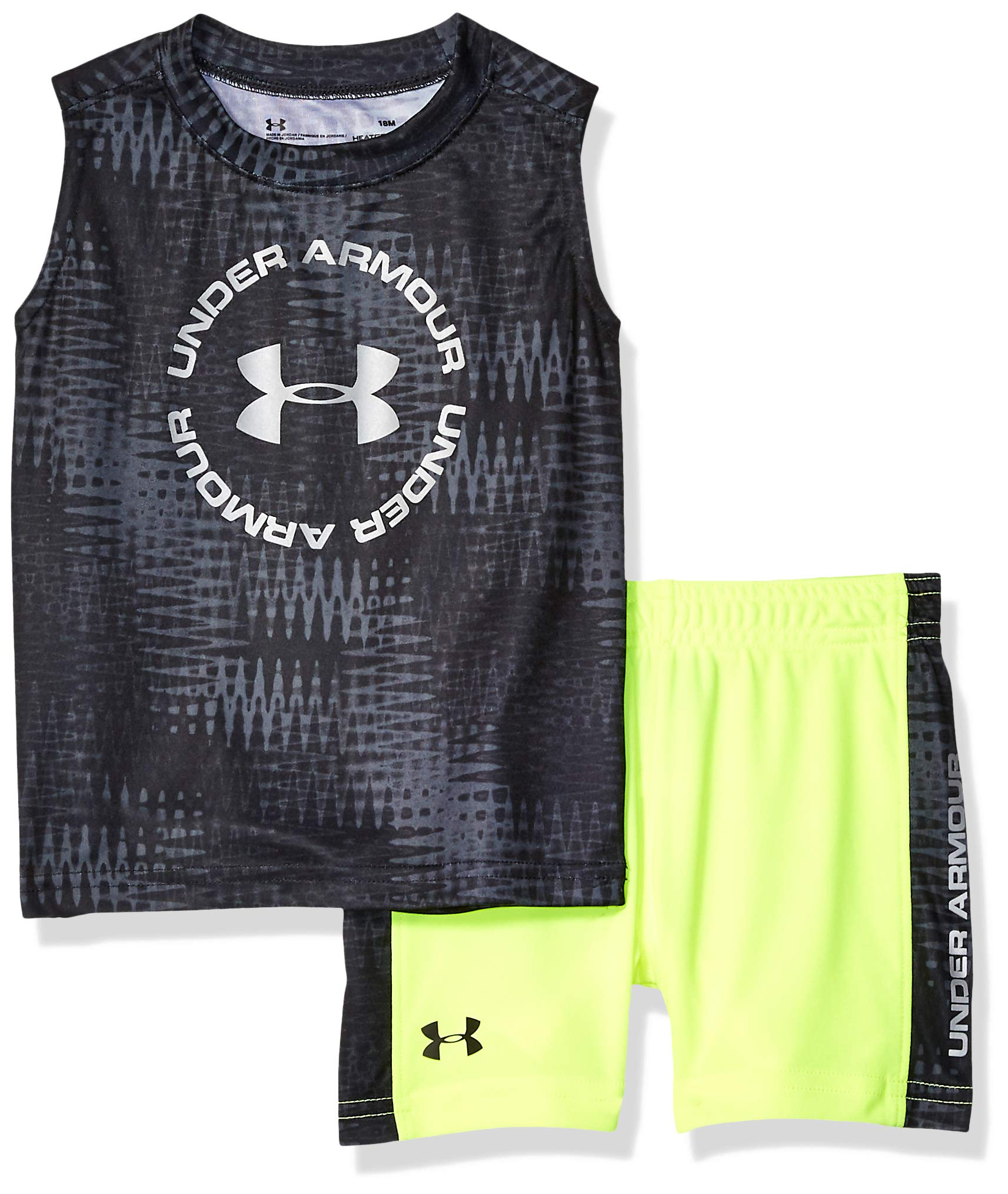Under Armour Boys' Baby UA Muscle Tank and Short Set, Black-S193, 12M