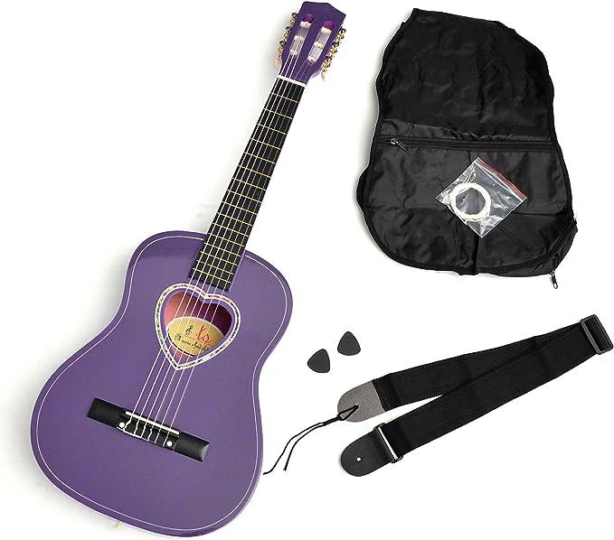 ts-ideen – Guitarra acústica infantil (tamaño 1/2 en lila con ...