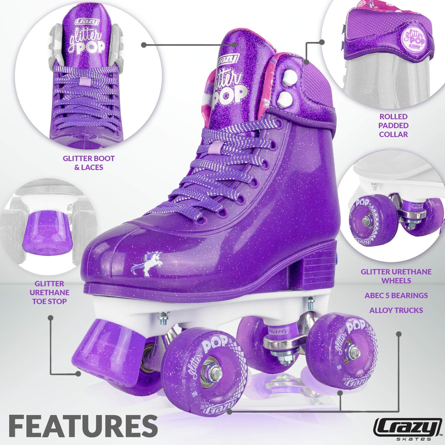 Crazy Skates Glitter POP Adjustable Roller Skates for Girls and Boys | Size Adjustable Quad Skates That Fit 4 Shoe Sizes | Purple (Sizes 3-6) by Crazy Skates (Image #2)