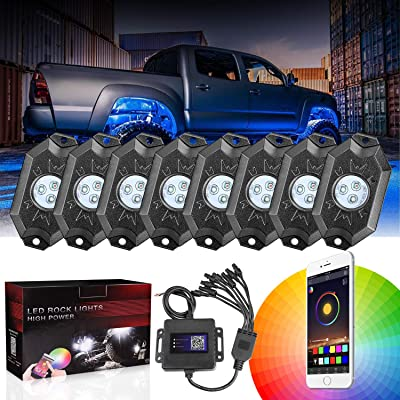 DJI 4X4 8 Pods RGB LED Rock Light Kits with Bluetooth Controller Waterproof Multicolor Neon LED Lights Underglow Trail Rig Lights for Trucks SUV ATV Boat Motorcycle Off Road Jeep: Automotive [5Bkhe0100812]