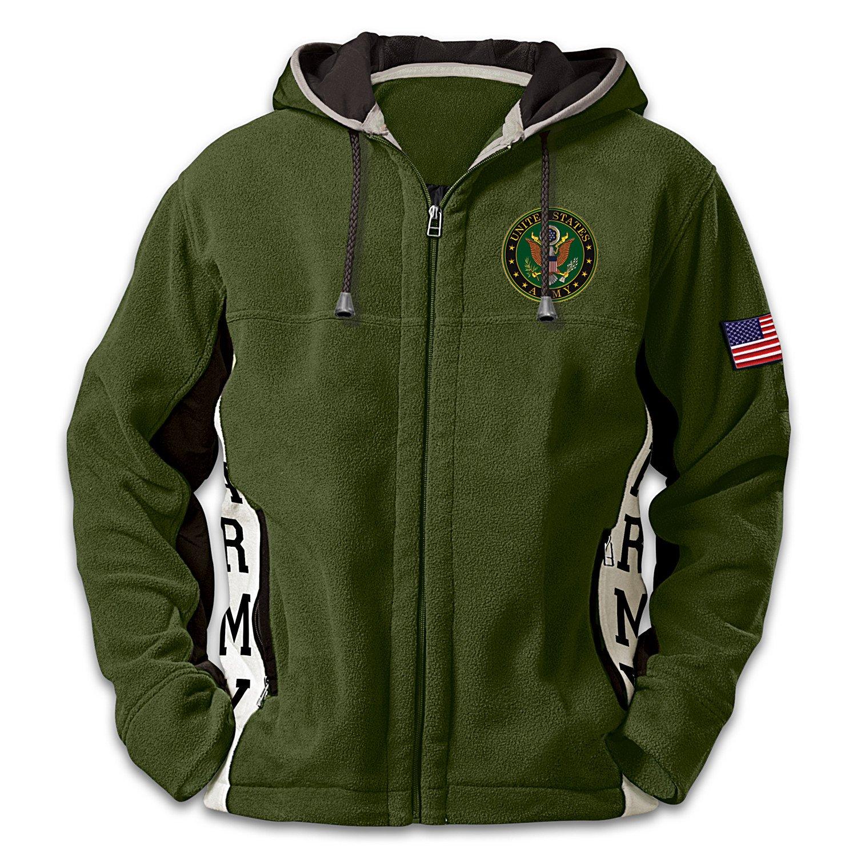U.S. Army Hoodie: Men's Green Hooded Fleece Jacket: XLarge by The Bradford Exchange