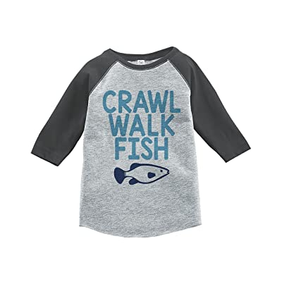 7 ate 9 Apparel Kids Crawl Walk Fish Grey Baseball Tee