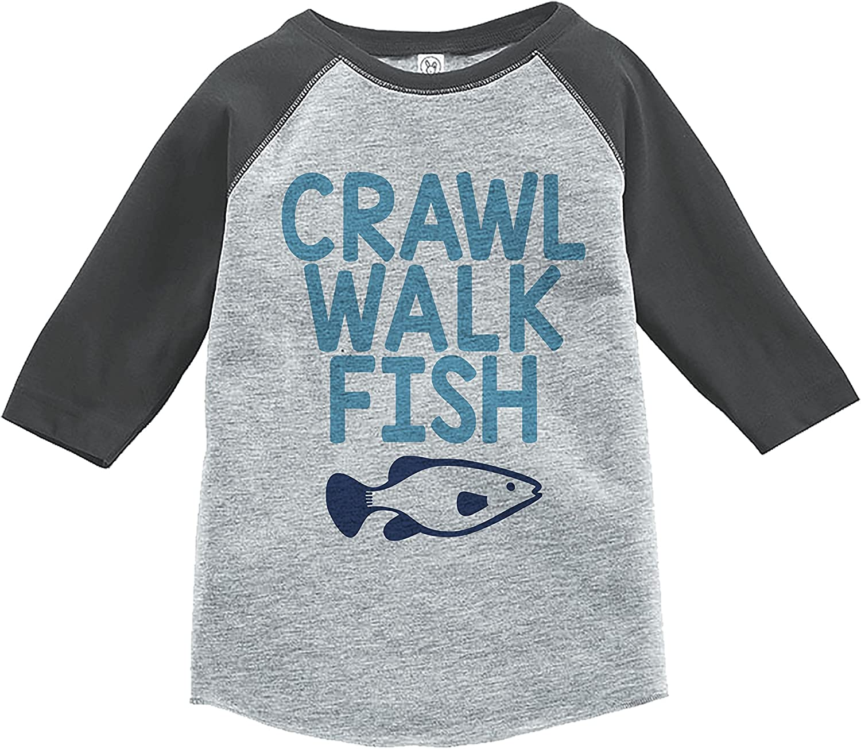 7 ate 9 Apparel Kids Crawl Walk Fish Grey Baseball Tee