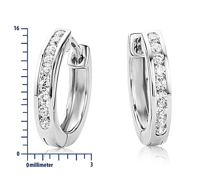Miore 925 Sterling Silver Crossover Hoop Earrings with 9 Clear Zirconia Crystals for Women, 4.5 x 16mm