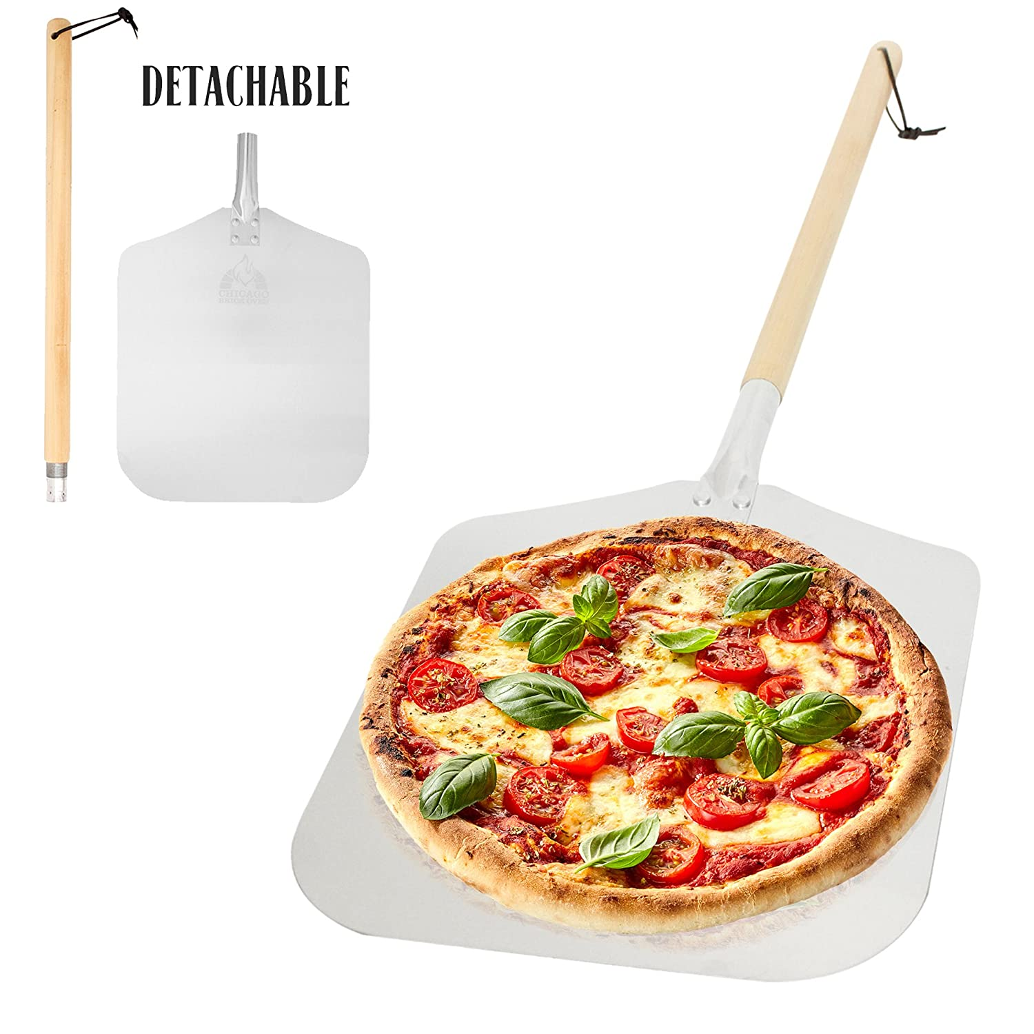 "Aluminum Pizza Peel Paddle with Detachable Wooden Handle, 12"" x 14"" inch Blade, Long 21.5"" Handle with Leather Strap, 35.5 inch overall - Outdoor Pizza Oven Accessories"