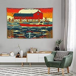 Tapestry Wall Decor Acadia National Park, Maine Tapestry For Bedroom Dorm Bathroom Home Hanging Blanket Line Art Living Room Decoration 60''×80''